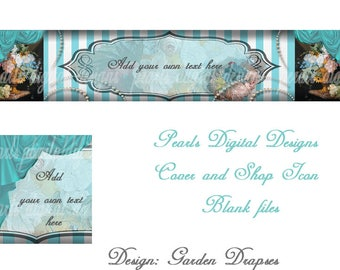 Etsy Cover banner and Shop Icon, premade, instant download, blank, garden, drapes, curtains, aqua, stripes,pearls,flowers, teal, blue,