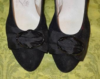 Vintage 1930s Black Suede High Heel Shoes
