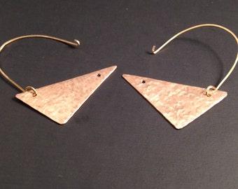 brass triangle half hoop earrings