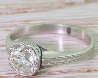 Art Deco 1.69 Carat Old Cut Diamond Engagement Ring, circa 1920