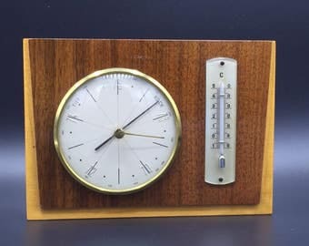 Vintage Wall Barometer - Thermometer wood / brass,  West Germany 1960s./ 1970s.