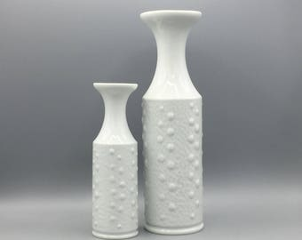 Royal  KPM Porzellan - Kerafina  740 / 2 + 4 Bavaria set of 2 white  Mid Century Modern 1970s , Germany   Vase.