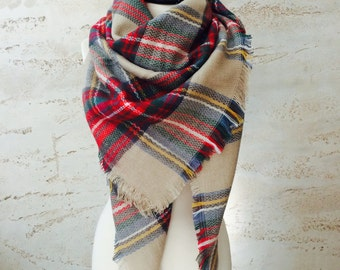 Plaid blanket scarf, chunky scarf, winter scarf, gift for her, women's scarves, oversized scarf, plaid scarf, blanket scarf wool