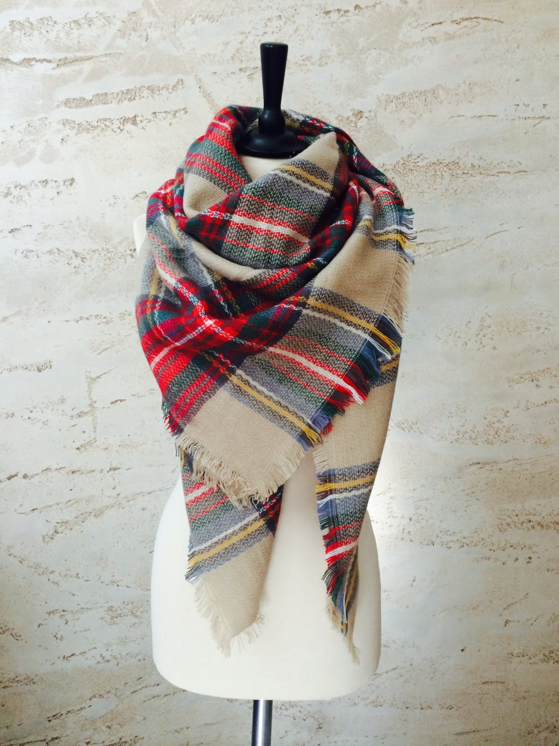 Plaid blanket scarf chunky scarf winter scarf gift for her
