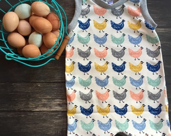 Spring chicken summer tank romper, summer romper, tank romper, baby romper, baby jumper, baby shorts, coming home outfit, baby summer