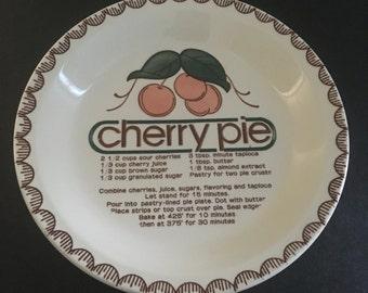 Vintage Cherry Pie Plate. Cherry Pie Recipe. 1980s Kitchen Decor. Retro Kitchen.