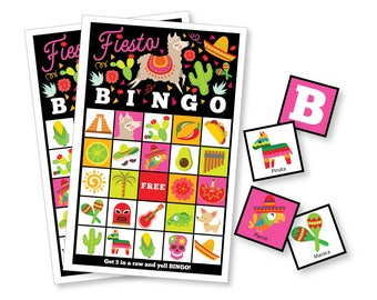 Fiesta BINGO Game - Kid's Printable Bingo Game - Bingo Game for boys and girls - Mexican Fiesta Birthday - Mexican Bingo - Instant Download
