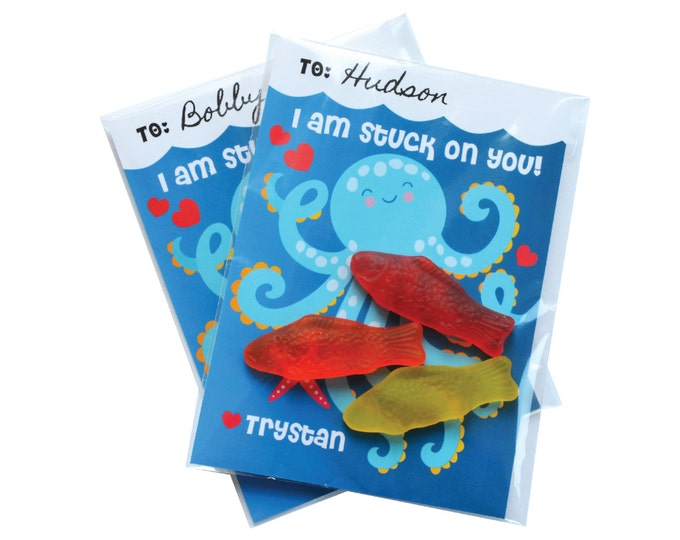 Valentines Day Octopus Cards, printable DIY Valentine classroom cards, Valentine for kids classroom, Valentine's Octopus