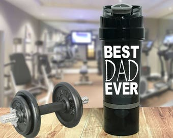 Best Dad Ever - 22 oz Protein Shaker bottle with storage compartment - Cyclone Cup / Whey Mixer - Crossfit - Father's Day - Gym Weightlifter