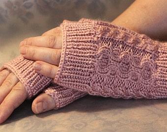 Knit Fingerless Gloves Pink Wrist Warmers Soft Gloves Pink Gloves Elegant Women Gloves Hand Knit Fingerless Warmer Gloves Latvian Mittens