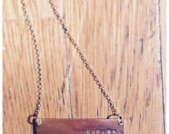 Hope & Arrows Custom Stamped Bar Necklace