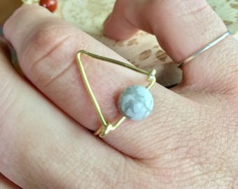 Gemstone Triangle Wire Ring