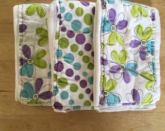 Cloth diaper burp rag set, burp cloth, purple burp rag, baby girl gift, purple burp cloth