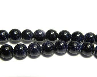 Round Blue Goldstone Gemstone Beads 6mm