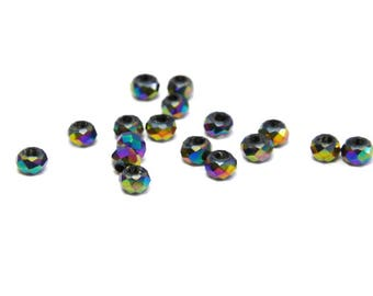 Faceted Mini Glass Briolette Beads, Glass Rondelle Beads 2mm - Metallic Rainbow