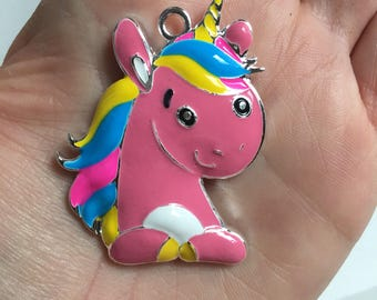 P127 Pink Unicorn Rhinestone Pendant