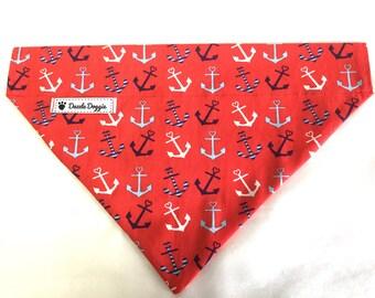 Dog bandana, red dog bandana, anchor dog bandana, over the collar dog bandana, dog scarf, puppy bandana, blue dog bandana, summer bandana
