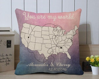 us map pillow cover you are my world long distance cushion cover custom