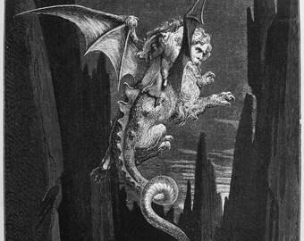 Gustave Dore: New Terror. (Illustration from Dante's Inferno) Fine Art Print/Poster. (003971)