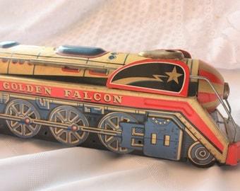 Vintage Golden Falcon Train, Bintage Tin Toy, Vintage metal toy train