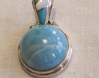 Sterling Silver Larimar Pendant with Inlay Turquoise and Mother of Pearl Bail