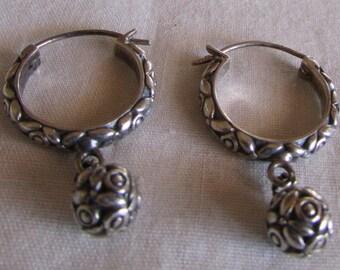 Sterling Silver Wire Hoop Earrings with Dangles
