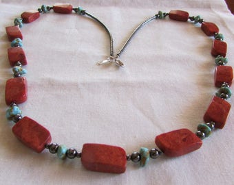 Sponge Coral, Turquoise and Hematite Necklace