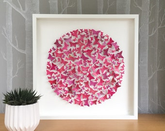 Butterfly art - bright pink decor - birthday gift - personalised art - pink butterflies - 3D art - large - fuchsia pink - colourful art