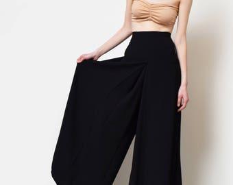 Black Wool Palazzo Pants Vintage Wide Leg Trousers High Waist Oversized Dramatic Minimalist 28 29 30 M L
