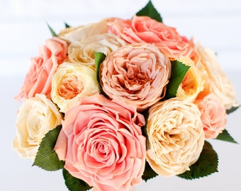 Preserved rose bridal bouquet, pink, peach, ivory, coral, yellow roses, garden roses, dry flowers, real flowers, garden rose bouquet,
