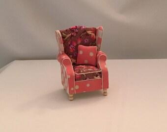 Dollhouse Furniture: Handmade, Wingback chair.