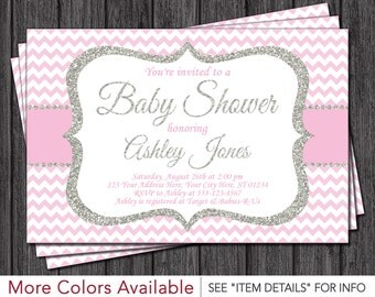 Baby Shower Invitation • Baby Pink and Silver