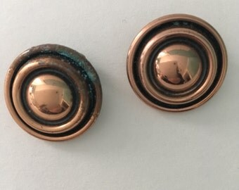 1950s vintage Signed Renoir copper orbit clip earrings
