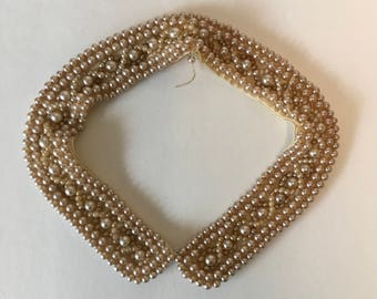 Vintage faux pearl collar 1940s as found