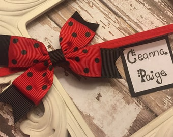 Red and black baby headband - lady bug bow - lady bug hair bow - Valentine's Day baby headband