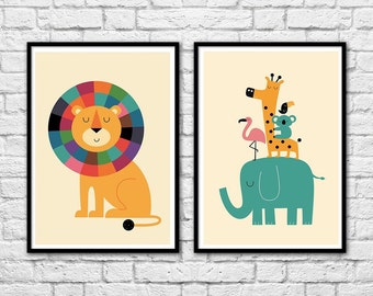 2 Art-Posters 30 x 40 cm for kids - Baby Lion and animals