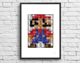 Art-Poster 50 x 70 cm - Super Mario Pixel Pop-Art Tribute