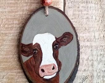 Cow Ornament, Christmas Ornament, Original, Farm ornament, cows, cattle, Wood Slice, Wood Ornament, Gift