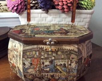 Vintage Anton Pieck Purse, Vintage Purse, Collectable Purse, Wood Purse, Lucite Handle, Decoupage Purse, Mid Century Purse, Octagon Purse