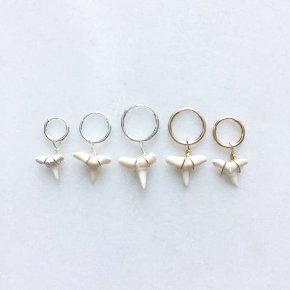 FRED the shark earring | Price is per piece | Hoop earring | 8/10mm sterling silver & 9/12mm 14k gold filled