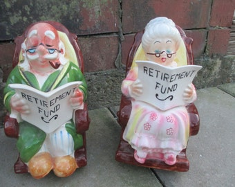 Vintage 50's Lefton Retirement Fund Coin Piggy Bank ~ Grandpa Rocking Chair ~ Grandma Rocking Chair
