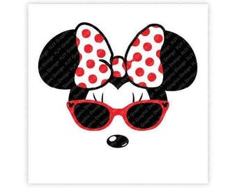 Disney, Minnie Mouse, Sunglasses, Icon Mickey Mouse Head, Mouse Ears, Illustration, TShirt Design, Cut File, svg, pdf, eps, png, dxf