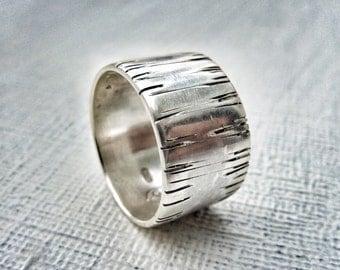 Sterling silver wedding band. Silver Organic Ring. Sterling silver wedding ring.  Wedding band. Woman's wedding ring. Men's wedding ring.