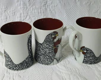 Vintage Fitz and Floyd Coq du Village Rooster mugs