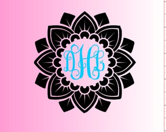 Mandala/Mandala Monogram Decal / Mandala Decal- Mandala Vinyl Decal - Yeti Decal - Laptop Decal - Car Window Decal-Phone Decal