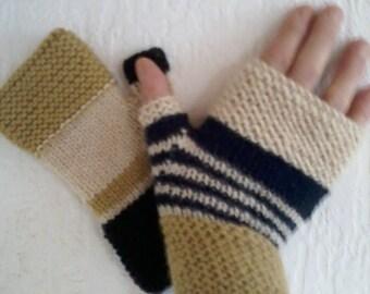 original knitted mittens different hands