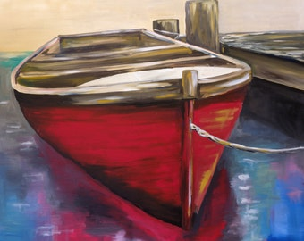 Boat on Canvas Art Print, colorful red boat art