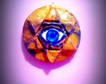 Eye of Horus Pendant, Hexagram, Living Eye of God, Eye of Ra, Egyptian Sands, polymer clay pendant