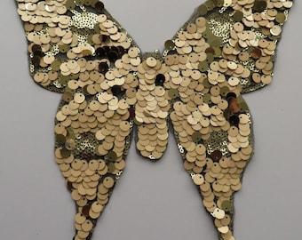 Fabulous Butterfly sequin applique patch peach / gold 27cm x 25cm one piece