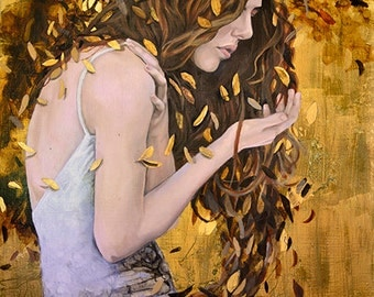 woman portrait PRINT of an oil painting, gold leaf, nature surrealism goddess
